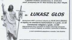 Zmarł Łukasz Głos. Żył 33 lata.