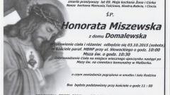 Zmarła Honorata Miszewska. Żyła 69 lat.