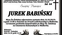 Zmarł Jurek Babiński. Żył 64 lata.