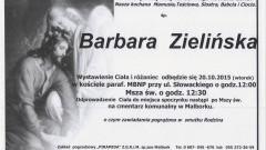 Zmarła Barbara Zielińska. Żył 63 lata.