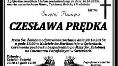 Zmarła Czesława Prędka. Żył 78 lat.