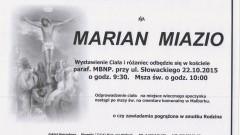Zmarł Marian Miazio. Żył 87 lat.