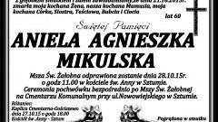 Zmarła Aniela Agnieszka Mikulska. Żyła 60 lat.