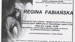 Zmarła Regina Fabiańska. Żyła 88 lat.