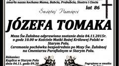 Zmarła Józefa Tomaka. Żyła 86 lat.