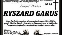 Zmarł Ryszard Garus. Żył 65 lat.