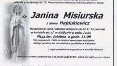 Zmarła Janina Misiurska. Żyła 76 lat.