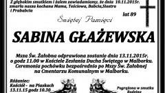 Zmarła Sabina Głażewska. Żyła 89 lat.