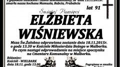 Zmarła Elżbieta Wiśniewska. Żyła 91 lat.