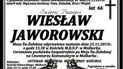 Zmarł Wiesław Jaworowski. Żył 66 lat.