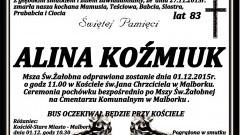 Zmarła Alina Koźmiuk. Żyła 83 lata.
