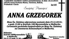 Zmarła Anna Grzegorek. Żyła 85 lat.
