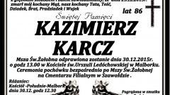 Zmarł Kazimierz Karcz. Żył 86 lat.