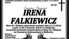Zmarła Irena Falkiewicz. Żyła 66 lat.