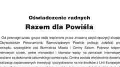 Sztum. Oświadczenie radnych Razem dla Powiśla - 12.02.2016