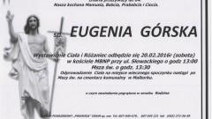 Zmarła Eugenia Górska. Żyła 84 lata.