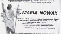 Zmarła Maria Nowak. Żyła 78 lat.