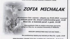 Zmarła Zofia Michalak. Żyła 96 lat.