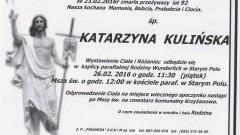 Zmarła Katarzyna Kulińska. Żyła 92 lata.
