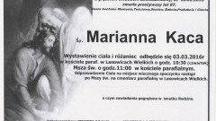 Zmarła Marianna Kaca. Żyła 87 lat.