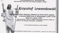Zmarł Krzysztof Lewandowski. Żył 55 lat.