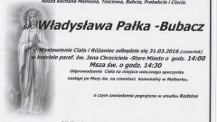 Zmarła Władysława Pałka-Bubacz. Żyła 83 lata.