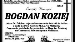 Zmarł Bogdan Koziej. Żył 61 lat.