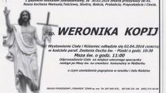 Zmarła Weronika Kopij. Żyła 91 lat.