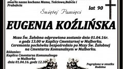 Zmarła Eugenia Koźlińska. Żyła 90 lat.