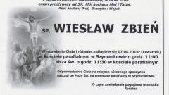 Zmarł Wiesław Zbień. Żył 57 lat.