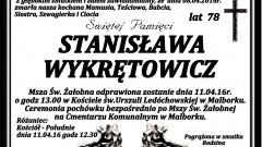 Zmarła Stanisława Wykrętowicz. Żyła 78 lat.