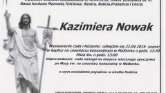 Zmarła Kazimiera Nowak. Żyła 70 lat.