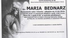 Zmarła Maria Bednarz. Żyła 90 lat.