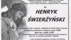 Zmarł Henryk Świerżyński. Żył 75 lat.