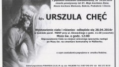 Zmarła Urszula Chęć. Żyła 81 lat.
