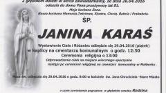 Zmarła Janina Karaś. Żyła 81 lat.