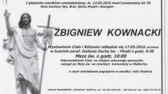 Zmarł Zbigniew Kownacki. Żył 78 lat.