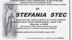 Zmarła Stefania Stec. Żyła 83 lata.