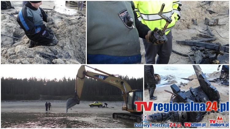 Sztutowo. Fragmenty dwóch łodzi wydobyli eksploratorzy na plaży - 21.12.2016