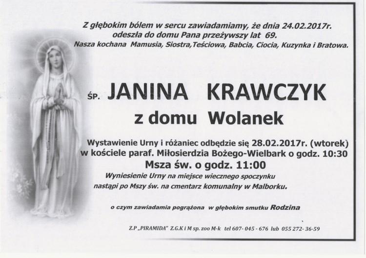 Zmarła Janina Krawczyk. Żyła 69 lat.