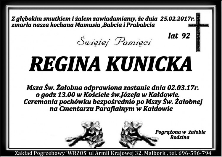 Zmarła Regina Kunicka. Żyła 92 lata.