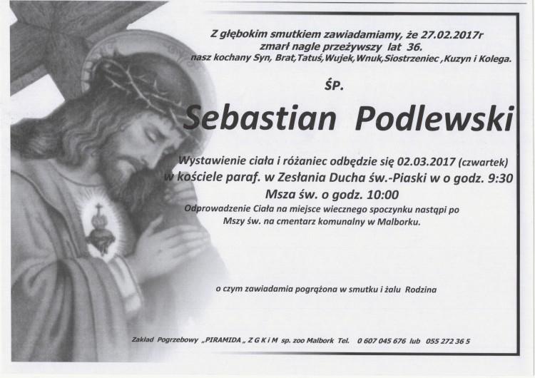 Zmarł Sebastian Podlewski. Żył 36 lat.