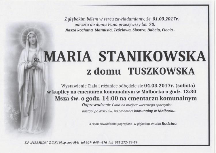 Zmarła Maria Stanikowska. Żyła 70 lat.