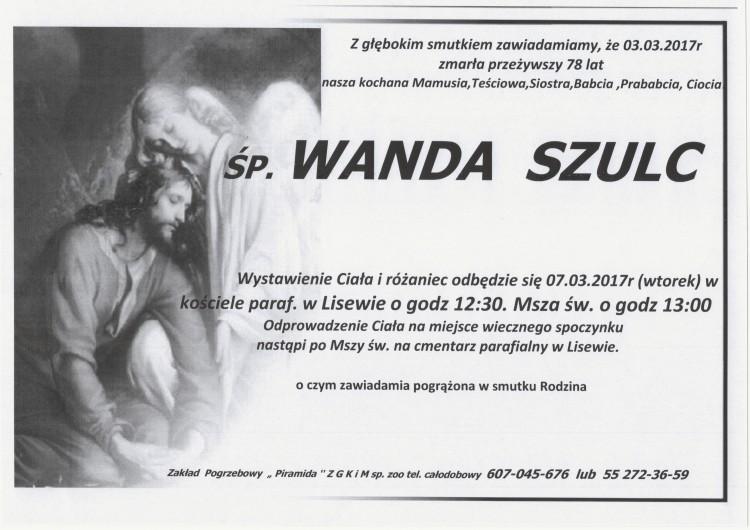 Zmarła Wanda Szulc. Żyła 78 lat.