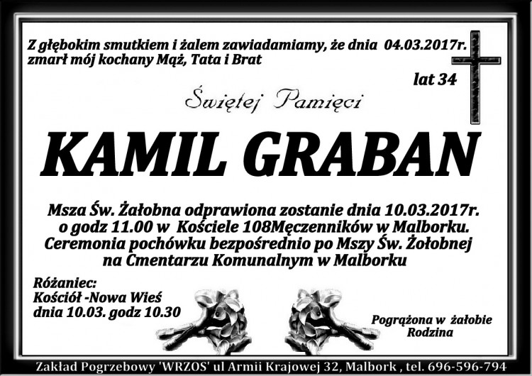 Zmarł Kamil Graban. Żył 34 lata.