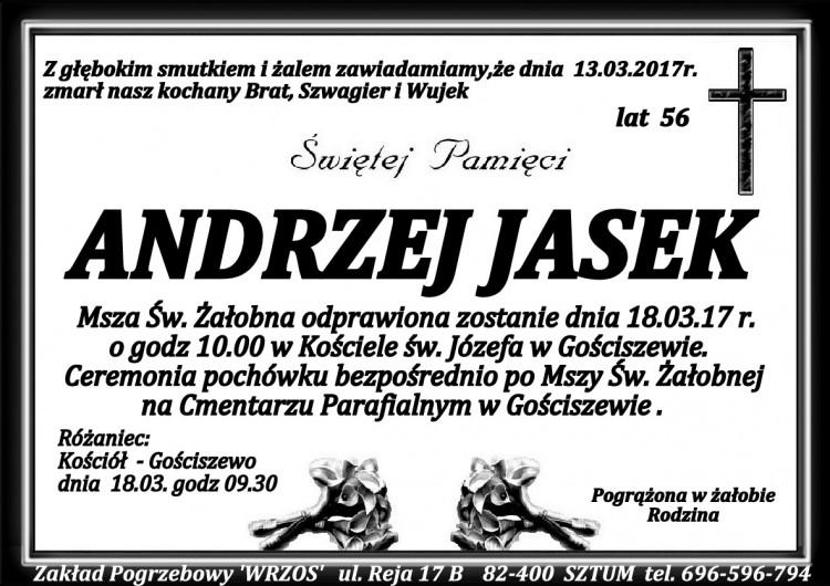 Zmarł Andrzej Jasek. Żył 56 lat.