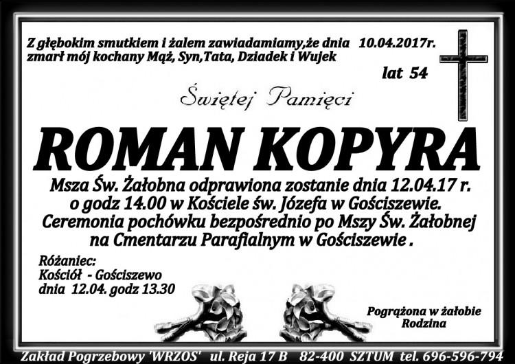 Zmarł Roman Kopyra. Żył 54 lata.