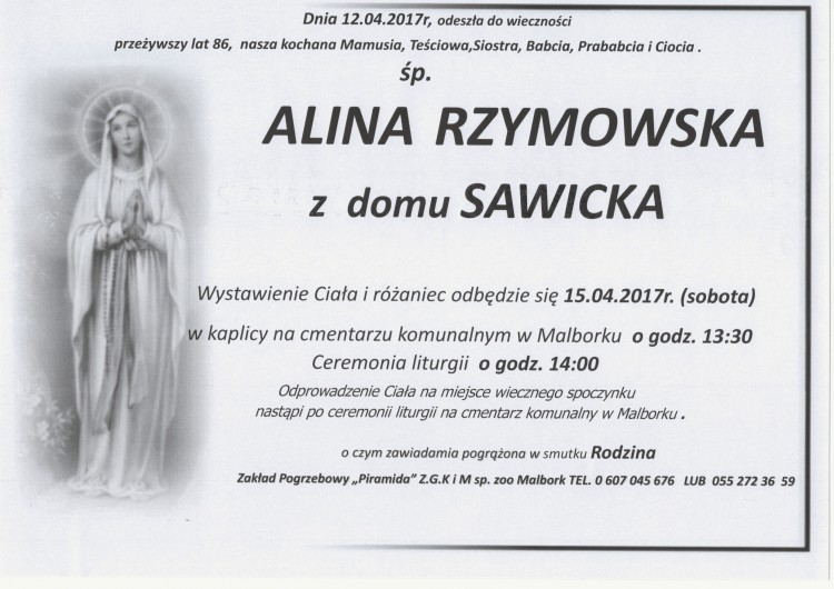 Zmarła Alina Rzymowska. Żyła 86 lat.
