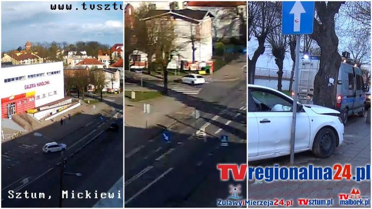 Sztum: Pijany kierowca rozbił się na drzewie. Nie trafił w zakręt... Zobacz nagranie z kamery z chwili wypadku! - 23.04.2017