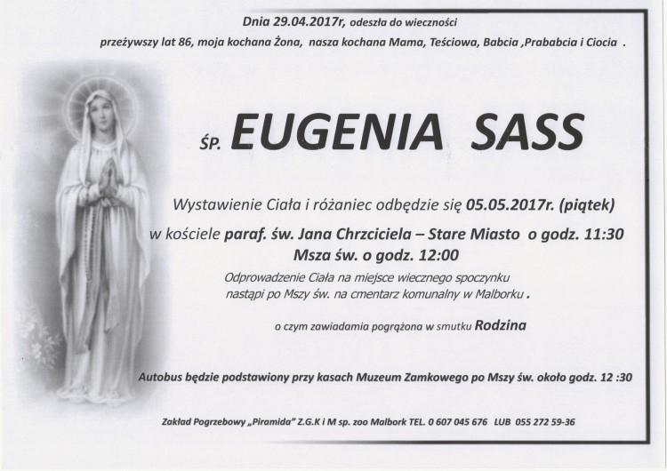 Zmarła Eugenia Sass. Żyła 86 lat.